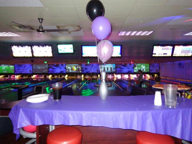 Birthday set up at the lanes in the alley
